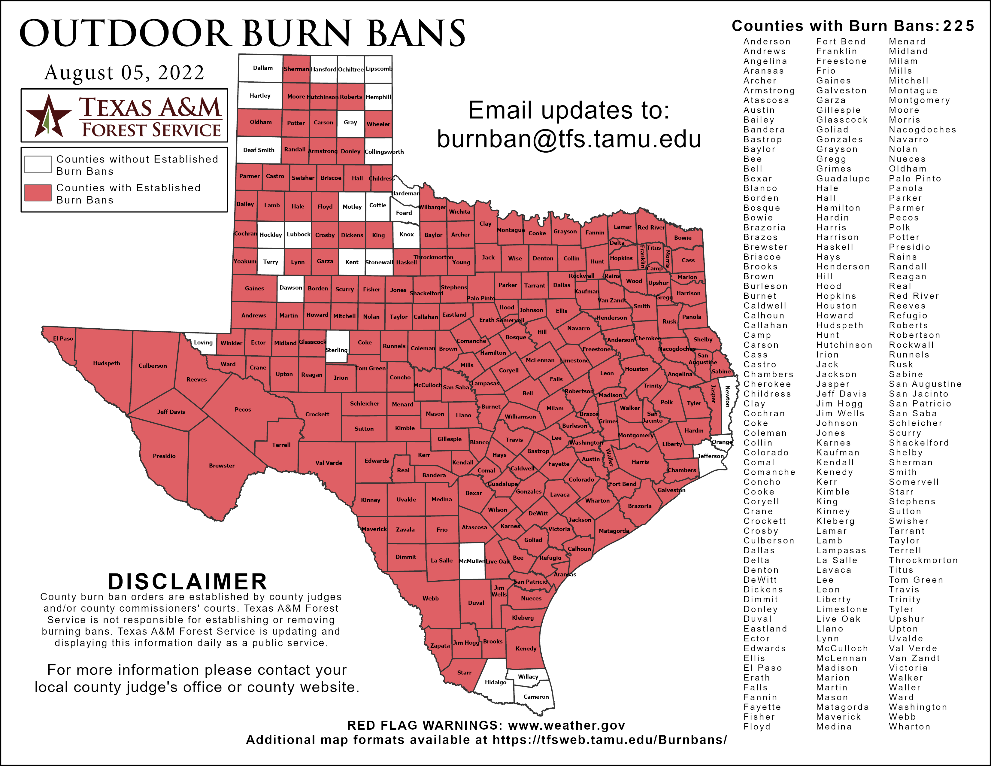 Map of Texas Counties.  Highlighted in red are those counties under an Outdoor Burn Bans