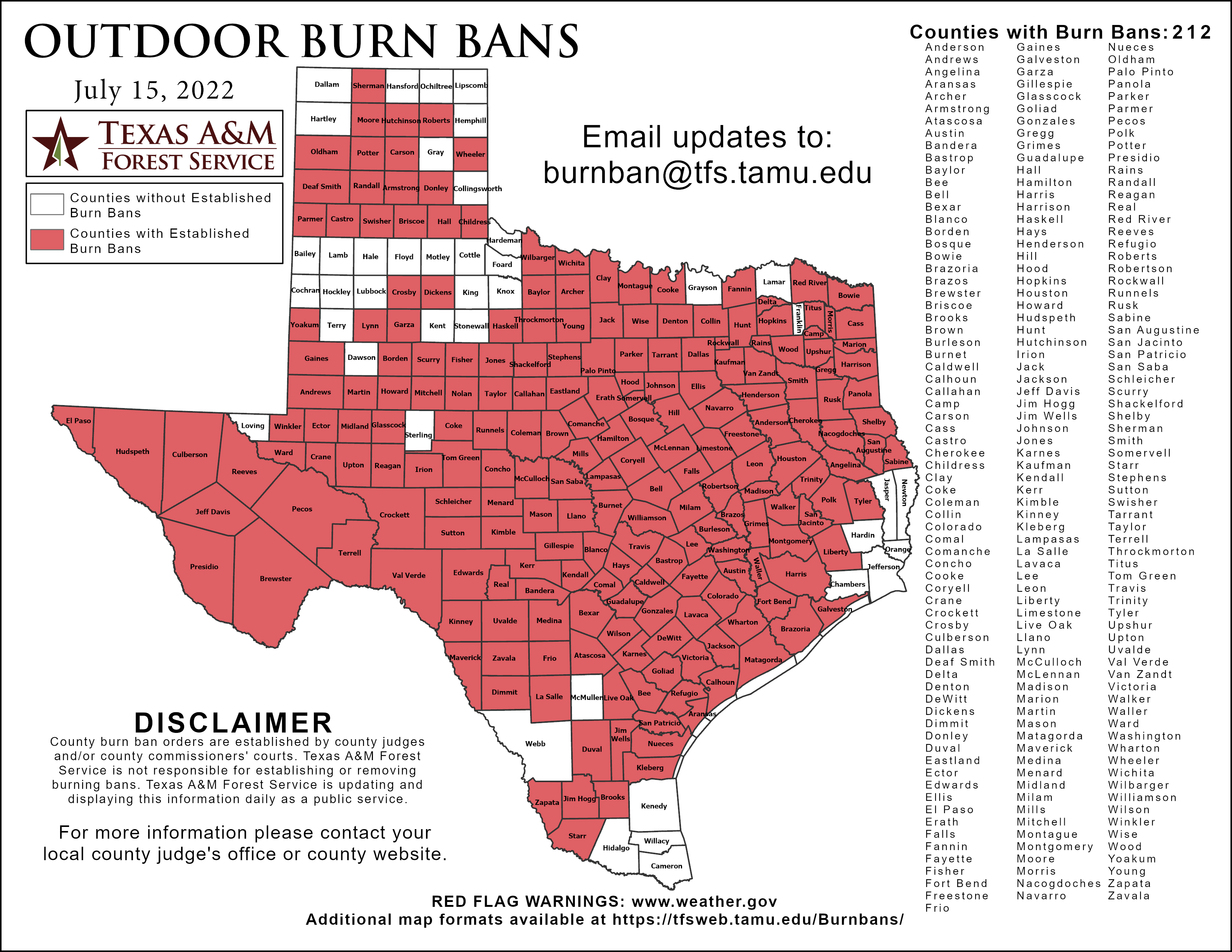 Texas Burn Bans By County
