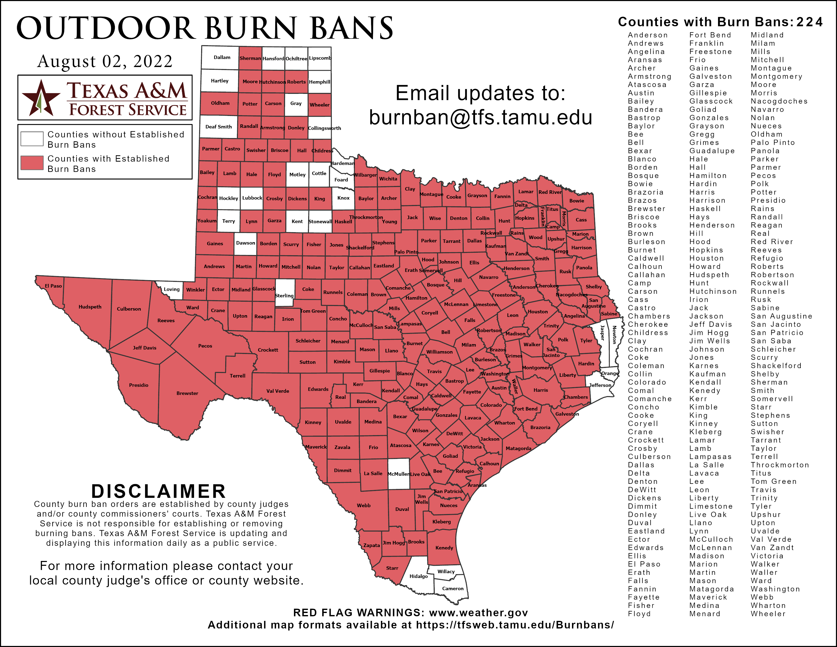Burn Ban & Disaster Declarations Map